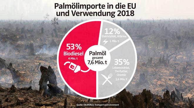 Palmölimporte in die EU und Verwendung 2018