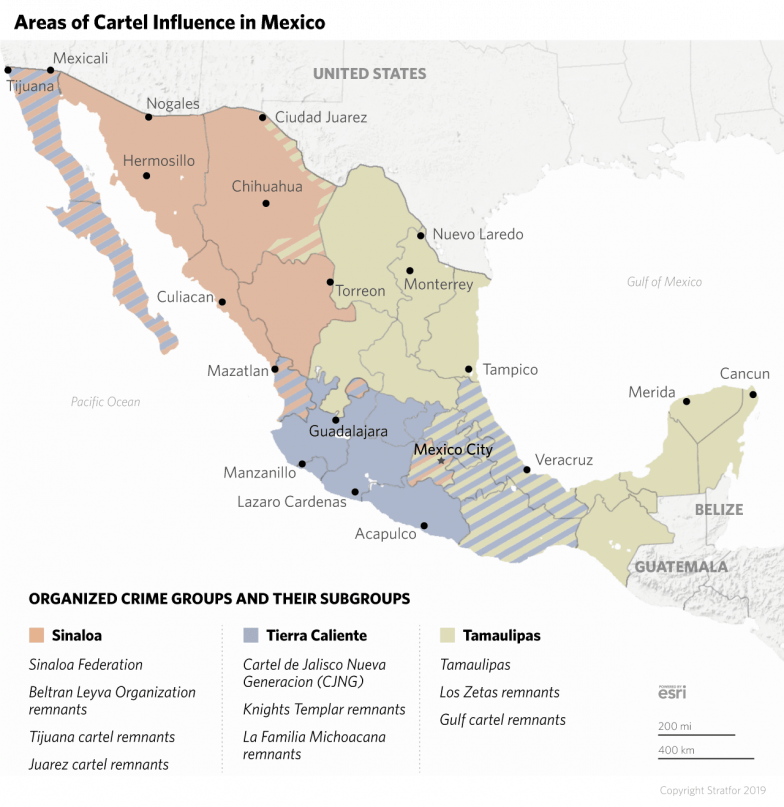 A map shows the areas of influence for the major cartel groups in Mexico.
