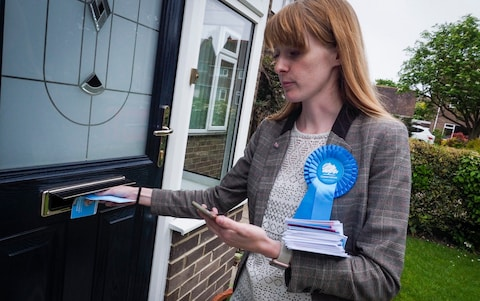 Dehenna Davison campaigning in Tony Blair's old constituency of Sedgefield, Co Durham