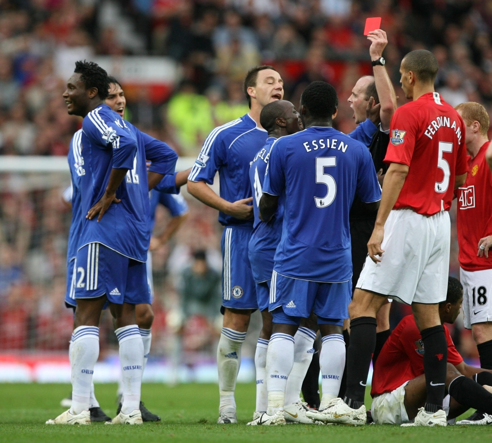 The midfielder was sent off against the Red Devils at Old Trafford in September 2007