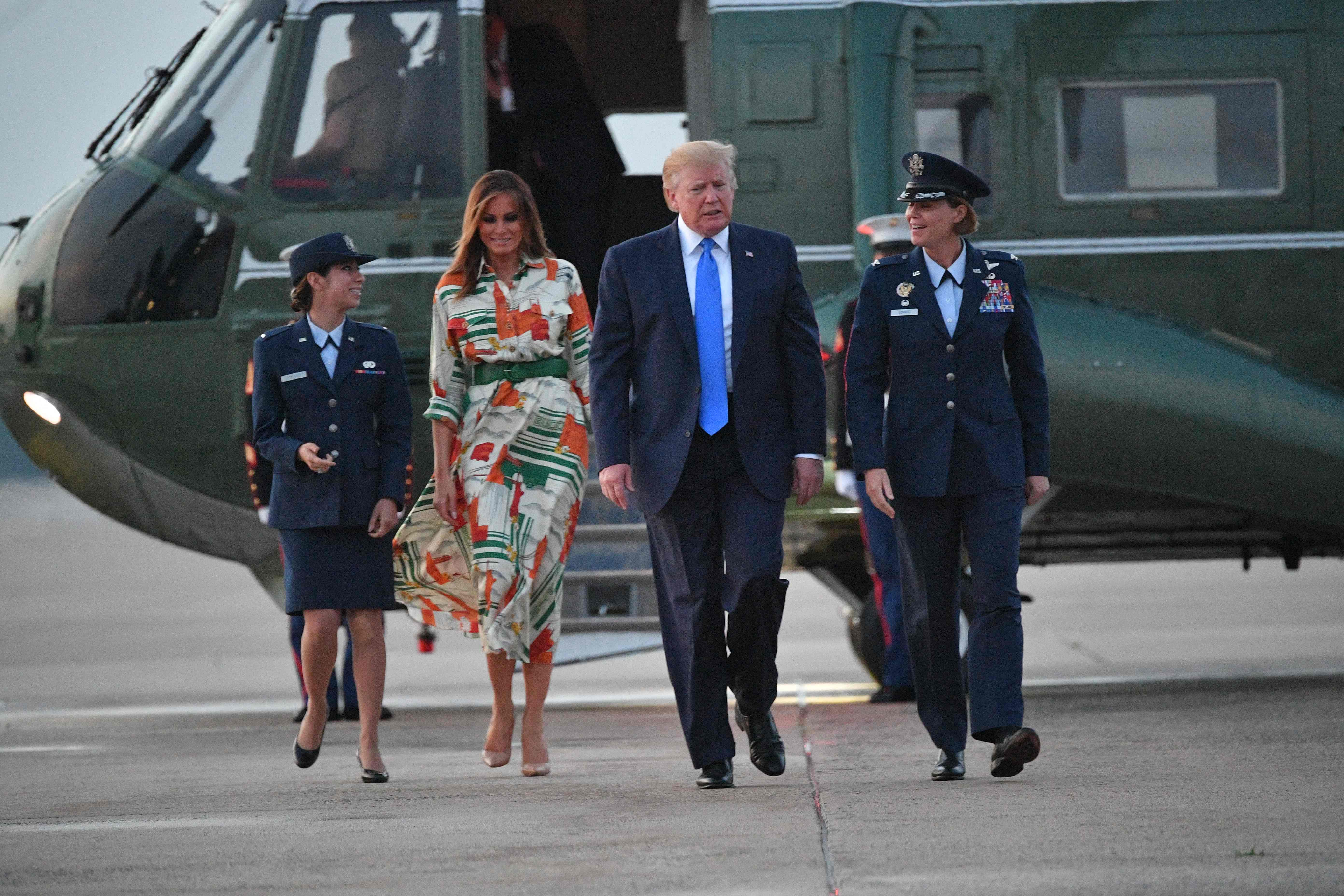 She chose this outfit for her flight from Washington to London, with husband President Donald Trump