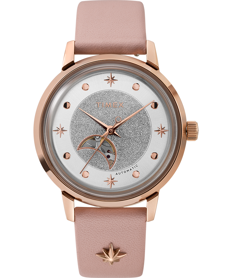 Timex Watch Women's Celestial Opulence Automatic 38MM Leather Strap Rose Gold-Tone/pink/silver-Tone   Item # Tw2U54700Vq