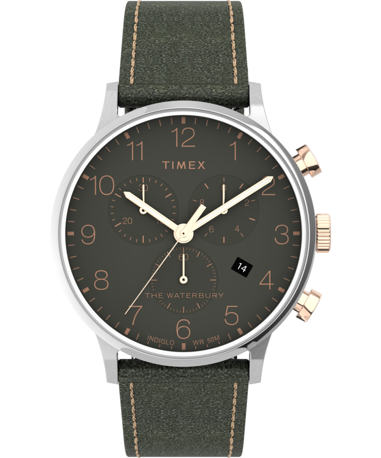 Timex Watch Men's Waterbury Classic Chronograph 40MM Leather Strap Stainless Steel/green   Item # Tw2T71400Vq