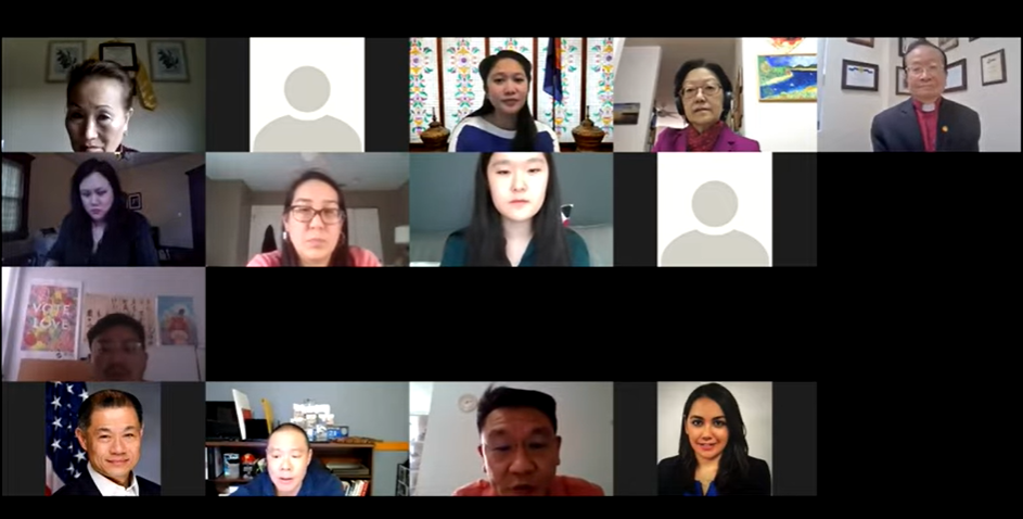NYC elected officials and advocacy partners on a zoom call discussing anti-Asian racism