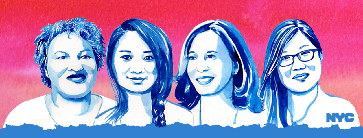 Images of Stacey Abrams, Chloe Zhao, Vice President Kamala Harris and Yin Kong